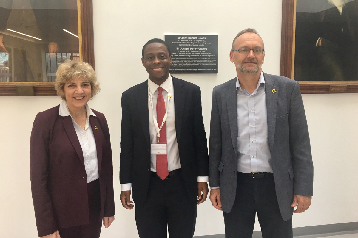 Angela Karp (Director for Science Innovation, Engagement and Partnerships), Bim Afolami MP and Achim Dobermann (Director and Chief Executive)