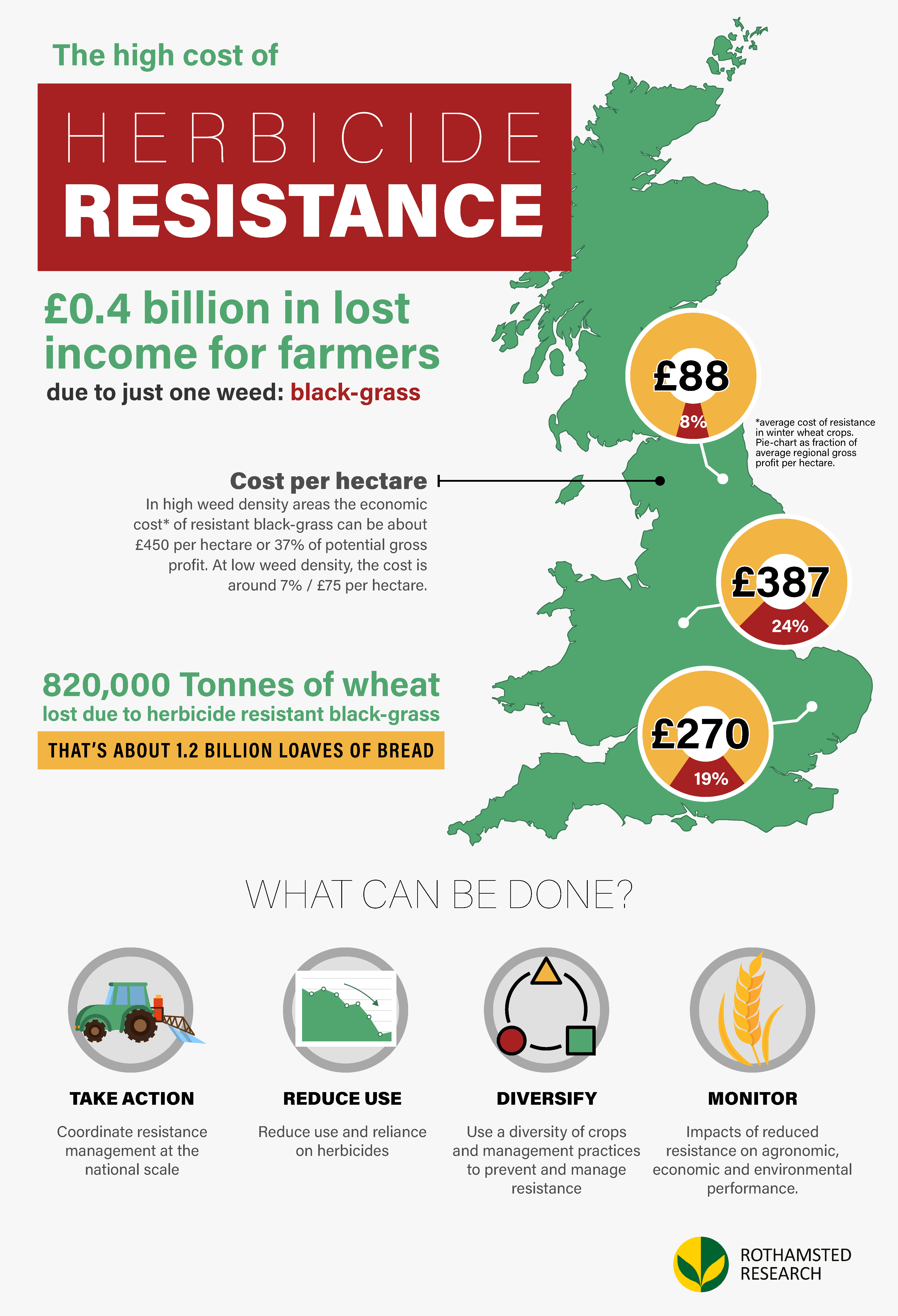 Infographic showing the cost of herbicide resistant black-grass in the UK