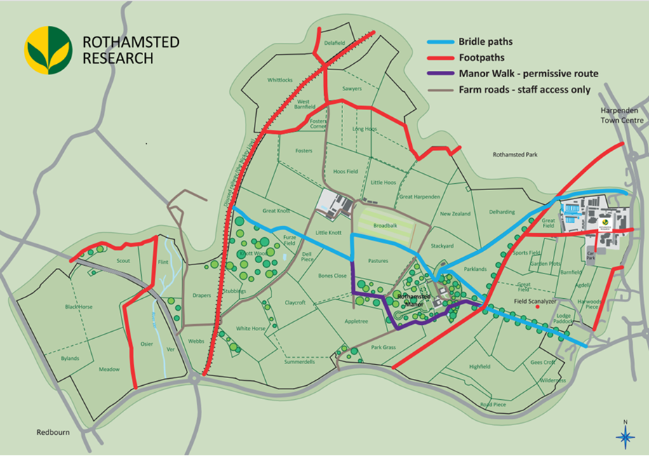 Map of the Rothamsted Estate with field names and footpaths